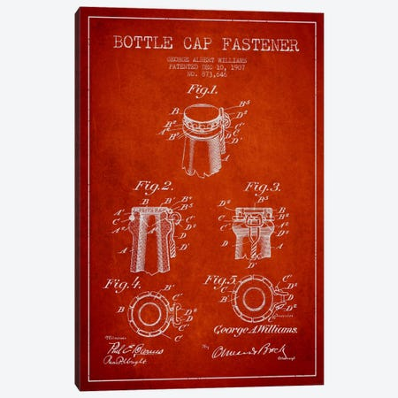 Cap Fastener Red Patent Blueprint Canvas Print #ADP742} by Aged Pixel Canvas Art