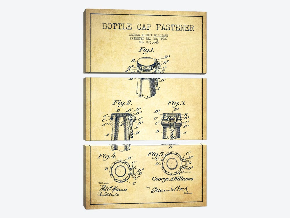 Cap Fastener Vintage Patent Blueprint by Aged Pixel 3-piece Canvas Art Print