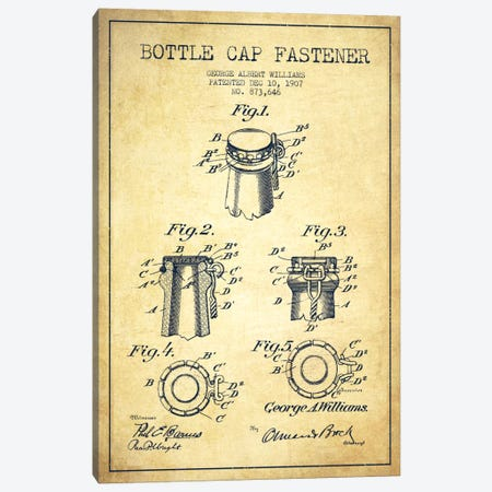 Cap Fastener Vintage Patent Blueprint Canvas Print #ADP743} by Aged Pixel Canvas Art