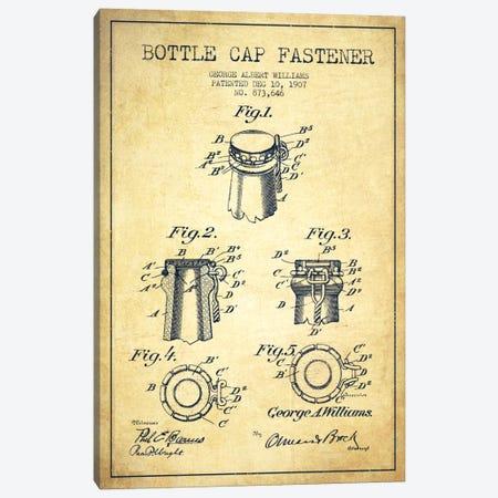 Cap Fastener Vintage Patent Blueprint Canvas Print #ADP743} by Aged Pixel Canvas Art