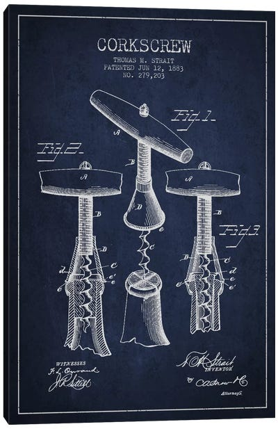 Corkscrew Navy Blue Patent Blueprint Canvas Art Print