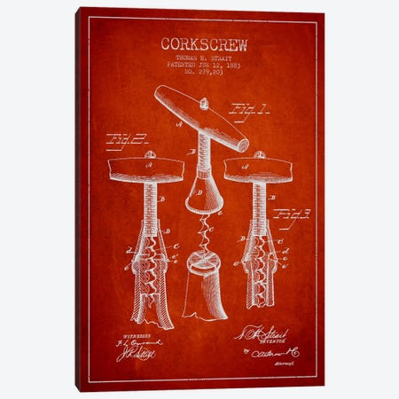 Corkscrew Red Patent Blueprint Canvas Print #ADP747} by Aged Pixel Canvas Print