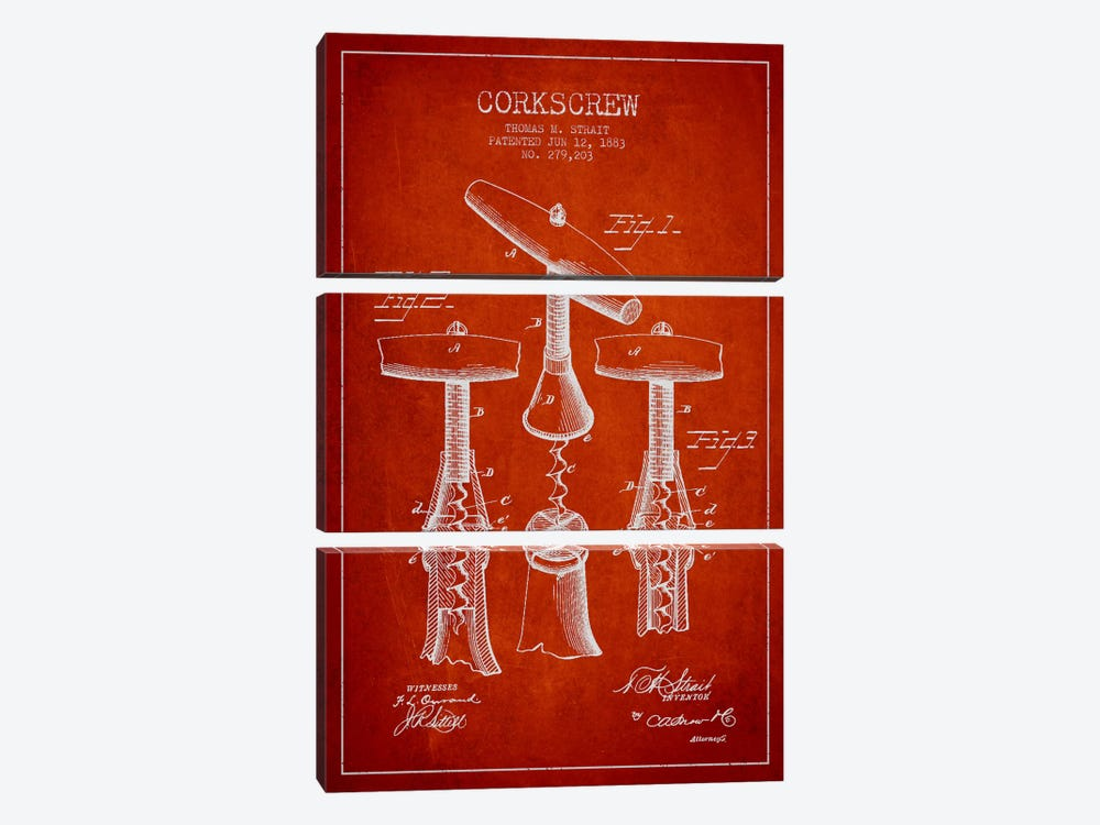 Corkscrew Red Patent Blueprint by Aged Pixel 3-piece Canvas Print