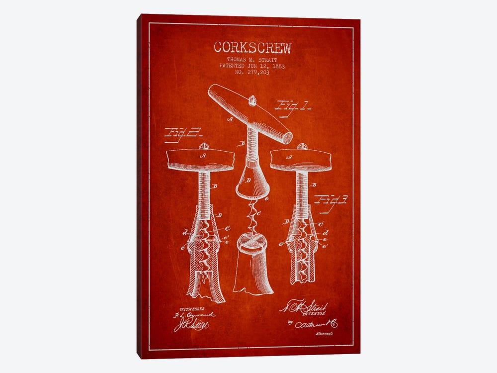 Corkscrew Red Patent Blueprint by Aged Pixel 1-piece Canvas Art Print