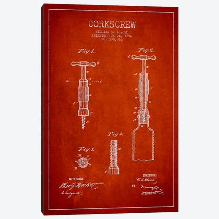 Corkscrew Red Patent Blueprint Canvas Print #ADP752} by Aged Pixel Art Print