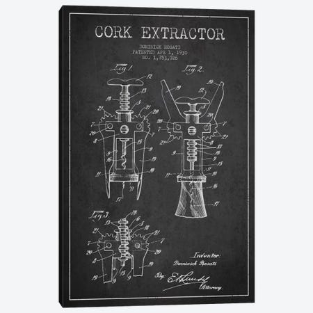 Corkscrew Charcoal Patent Blueprint Canvas Print #ADP754} by Aged Pixel Canvas Art