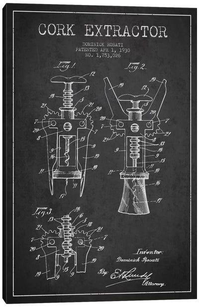 Corkscrew Charcoal Patent Blueprint Canvas Art Print