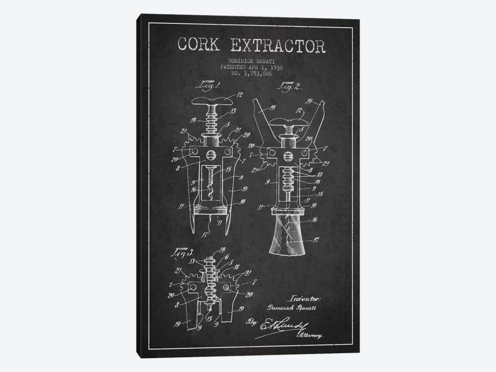 Corkscrew Charcoal Patent Blueprint by Aged Pixel 1-piece Canvas Print