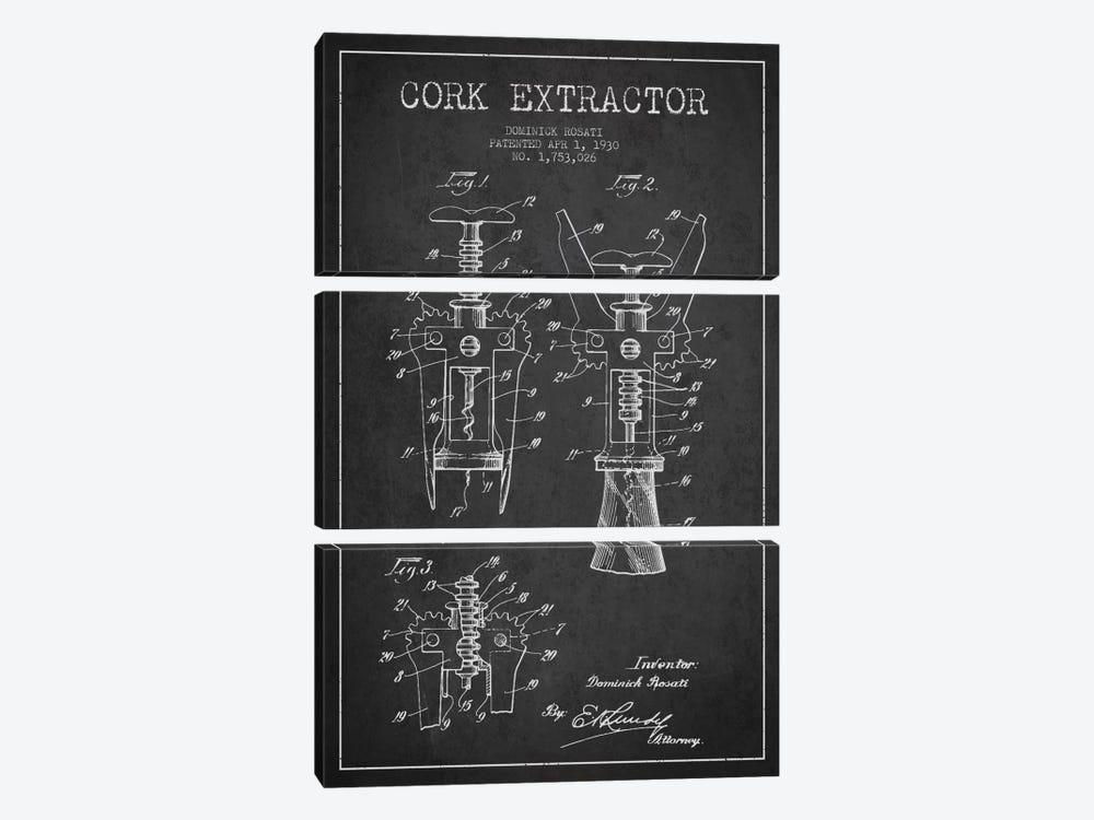 Corkscrew Charcoal Patent Blueprint by Aged Pixel 3-piece Canvas Print
