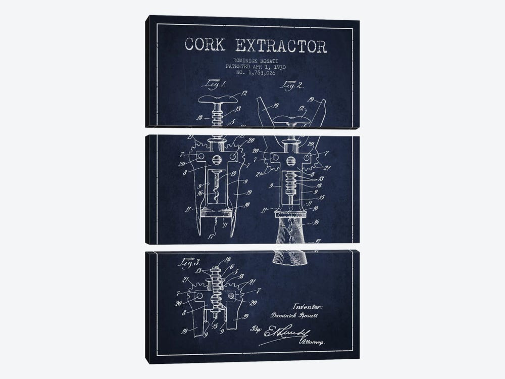 Corkscrew Navy Blue Patent Blueprint by Aged Pixel 3-piece Canvas Art Print