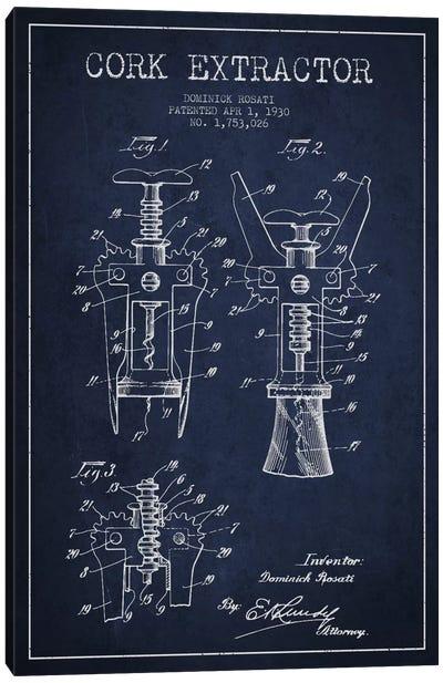 Corkscrew Navy Blue Patent Blueprint Canvas Art Print