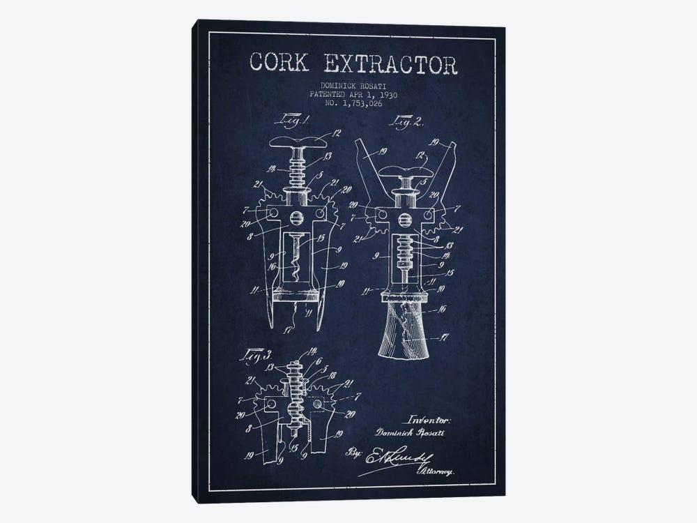 Corkscrew Navy Blue Patent Blueprint by Aged Pixel 1-piece Canvas Art Print