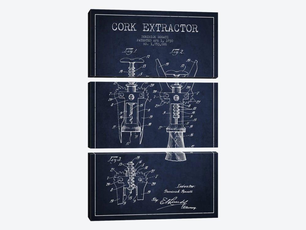 Corkscrew Navy Blue Patent Blueprint by Aged Pixel 3-piece Canvas Art Print