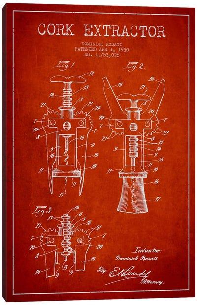 Corkscrew Red Patent Blueprint Canvas Art Print