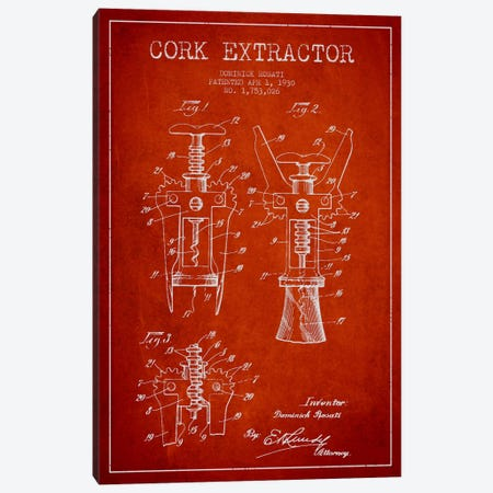 Corkscrew Red Patent Blueprint Canvas Print #ADP757} by Aged Pixel Canvas Artwork