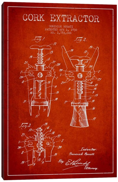 Corkscrew Red Patent Blueprint Canvas Art Print
