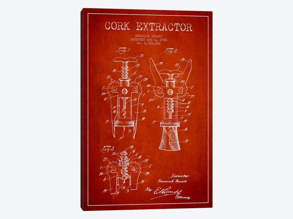 Corkscrew Red Patent Blueprint by Aged Pixel 1-piece Canvas Art