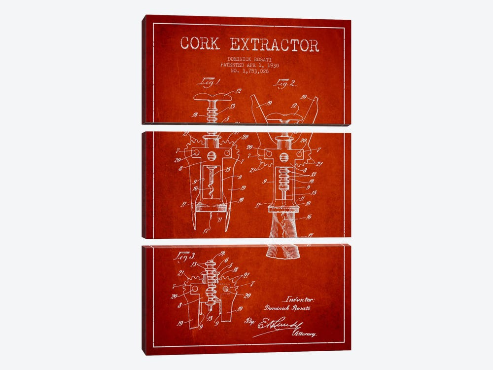 Corkscrew Red Patent Blueprint by Aged Pixel 3-piece Canvas Art