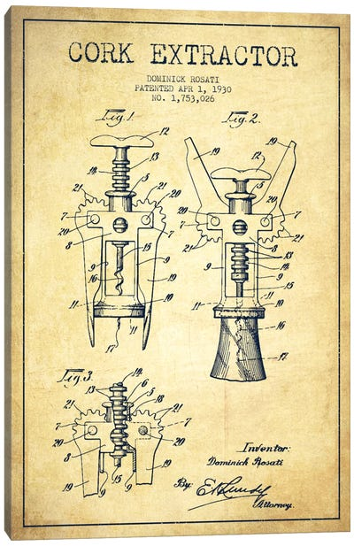Corkscrew Vintage Patent Blueprint Canvas Art Print