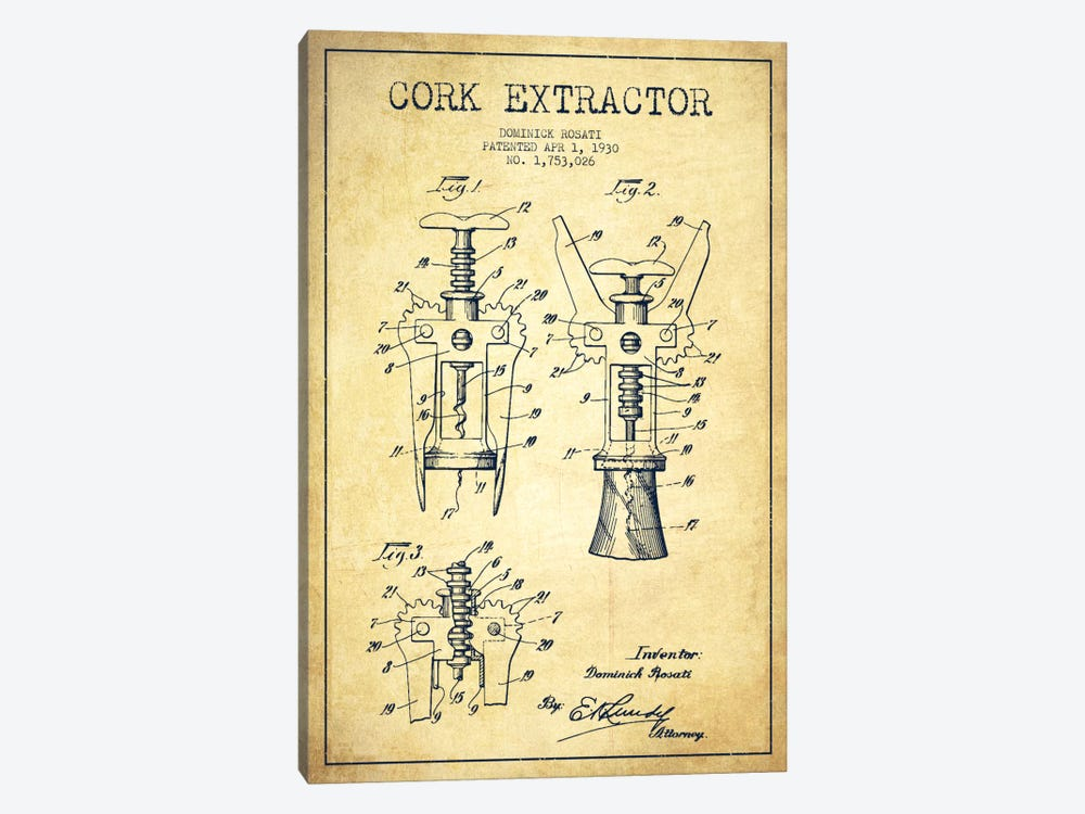 Corkscrew Vintage Patent Blueprint by Aged Pixel 1-piece Art Print