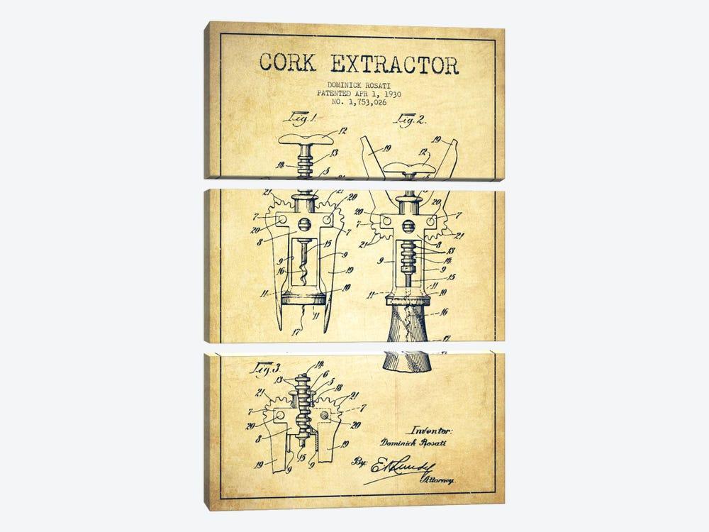 Corkscrew Vintage Patent Blueprint by Aged Pixel 3-piece Canvas Art Print