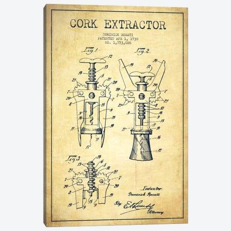 Corkscrew Vintage Patent Blueprint Canvas Print #ADP758} by Aged Pixel Canvas Print