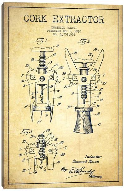 Corkscrew Vintage Patent Blueprint Canvas Art Print