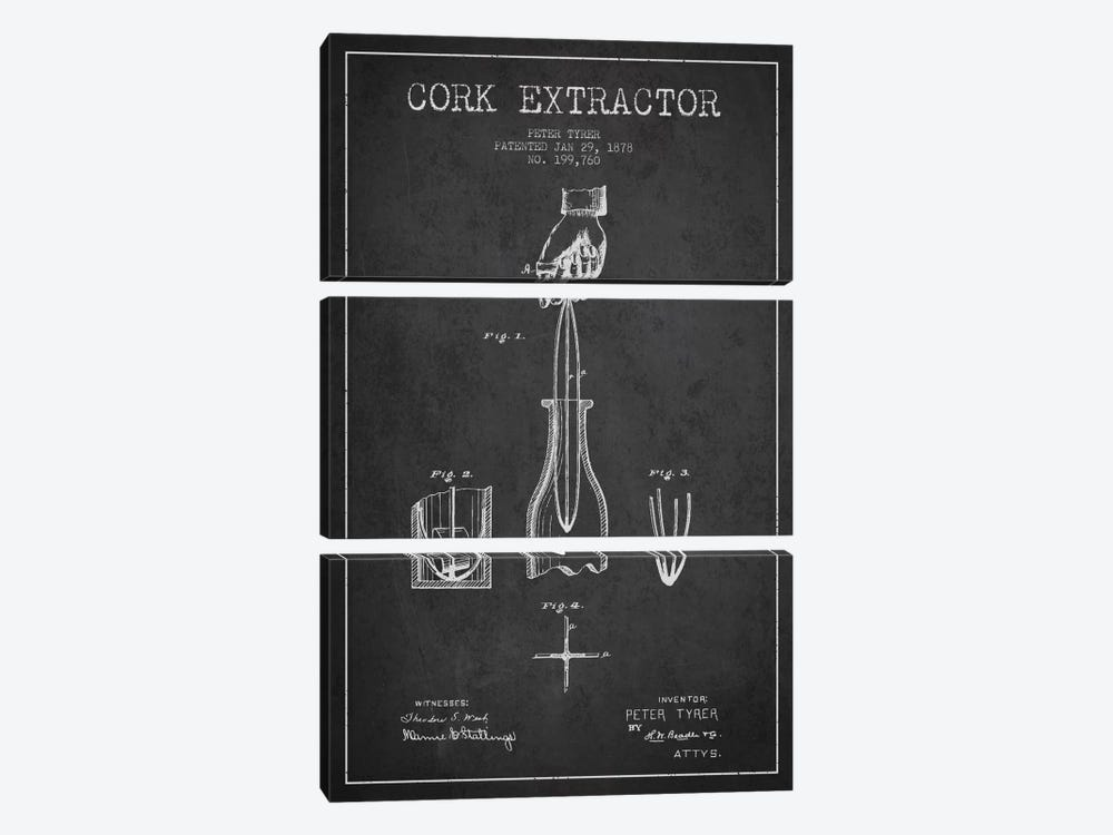 Corkscrew Charcoal Patent Blueprint by Aged Pixel 3-piece Canvas Wall Art