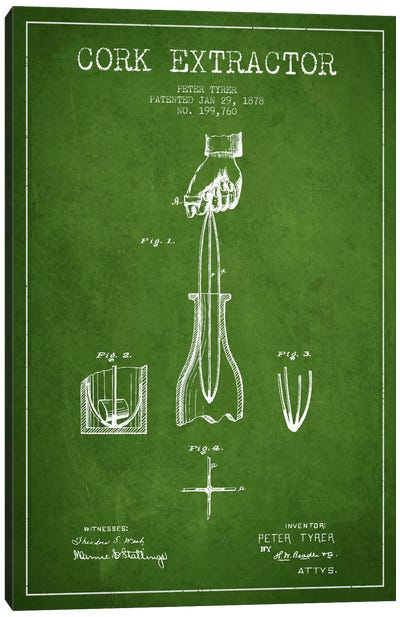 Corkscrew Green Patent Blueprint Canvas Art Print