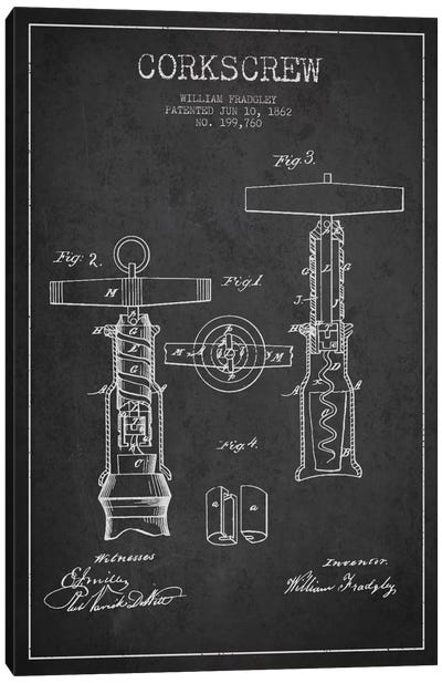 Corkscrew Charcoal Patent Blueprint Canvas Art Print