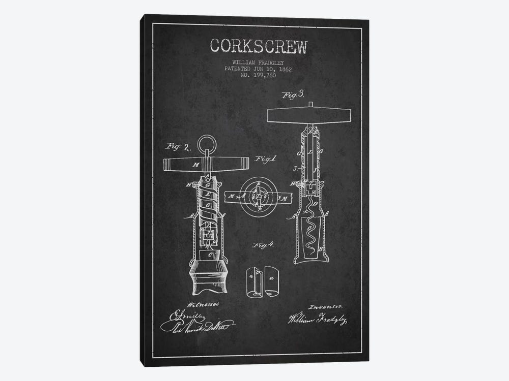 Corkscrew Charcoal Patent Blueprint by Aged Pixel 1-piece Canvas Wall Art