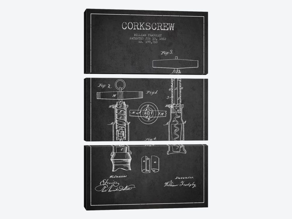 Corkscrew Charcoal Patent Blueprint by Aged Pixel 3-piece Canvas Art