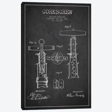 Corkscrew Charcoal Patent Blueprint Canvas Print #ADP764} by Aged Pixel Art Print