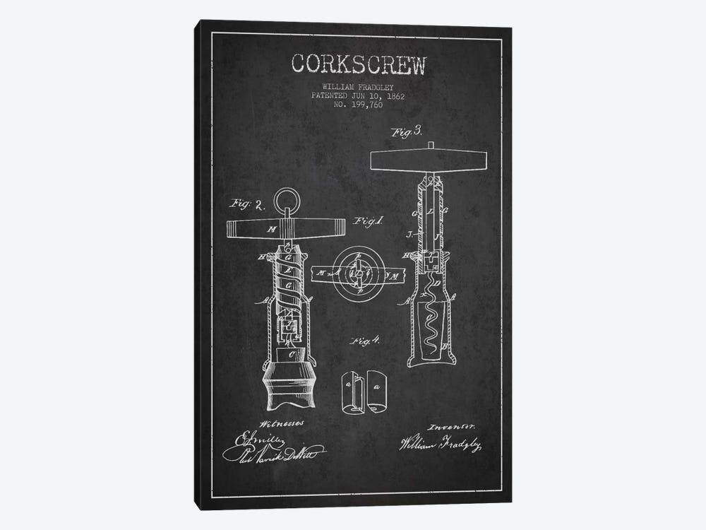 Corkscrew Charcoal Patent Blueprint by Aged Pixel 1-piece Canvas Wall Art