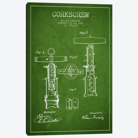Corkscrew Green Patent Blueprint Canvas Print #ADP765} by Aged Pixel Art Print