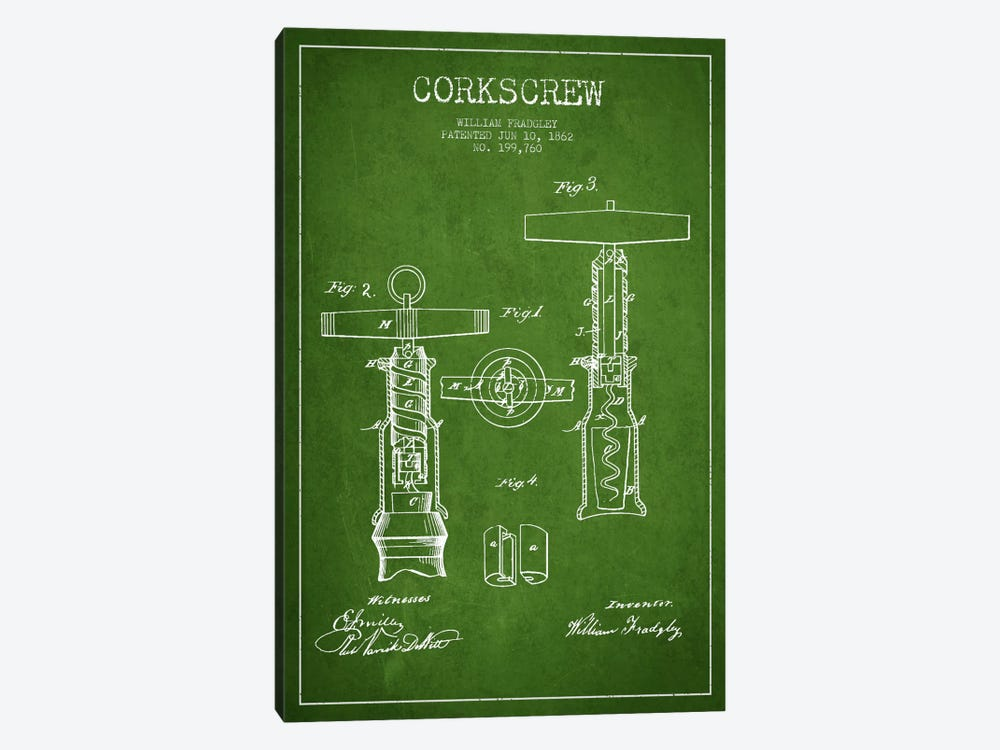 Corkscrew Green Patent Blueprint 1-piece Art Print