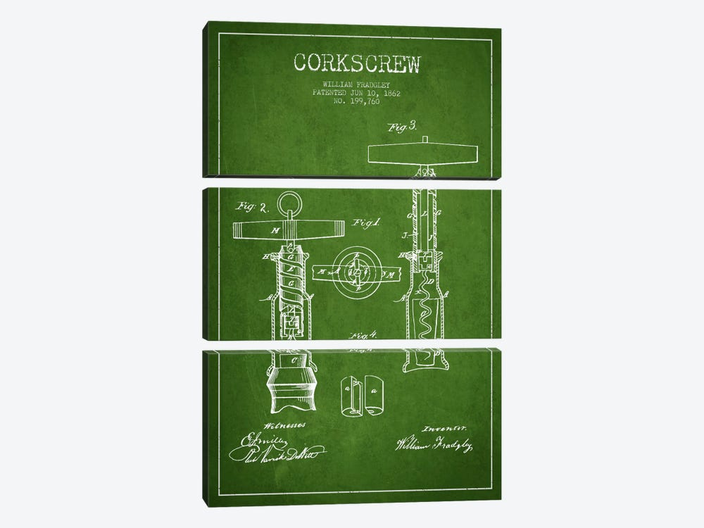 Corkscrew Green Patent Blueprint by Aged Pixel 3-piece Canvas Print