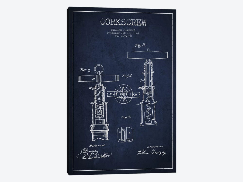 Corkscrew Navy Blue Patent Blueprint 1-piece Canvas Artwork
