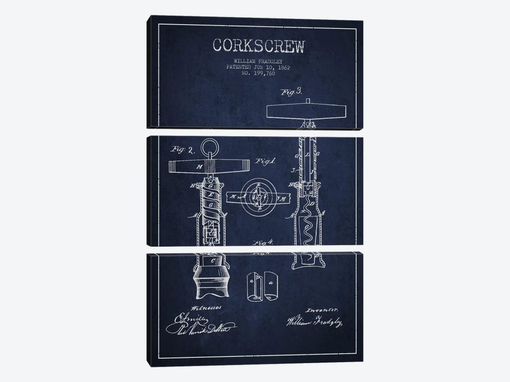 Corkscrew Navy Blue Patent Blueprint 3-piece Canvas Artwork