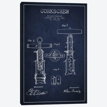 Corkscrew Navy Blue Patent Blueprint Canvas Print #ADP766} by Aged Pixel Art Print