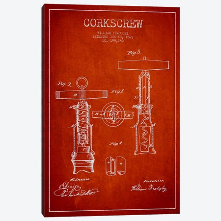 Corkscrew Red Patent Blueprint Canvas Print #ADP767} by Aged Pixel Canvas Art Print