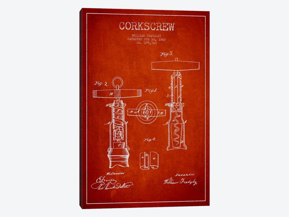 Corkscrew Red Patent Blueprint 1-piece Canvas Print