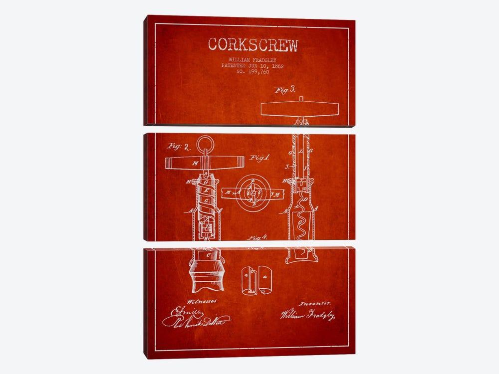 Corkscrew Red Patent Blueprint by Aged Pixel 3-piece Art Print