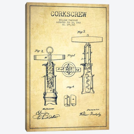 Corkscrew Vintage Patent Blueprint Canvas Print #ADP768} by Aged Pixel Canvas Art