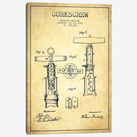 Corkscrew Vintage Patent Blueprint Canvas Print #ADP768} by Aged Pixel Canvas Art