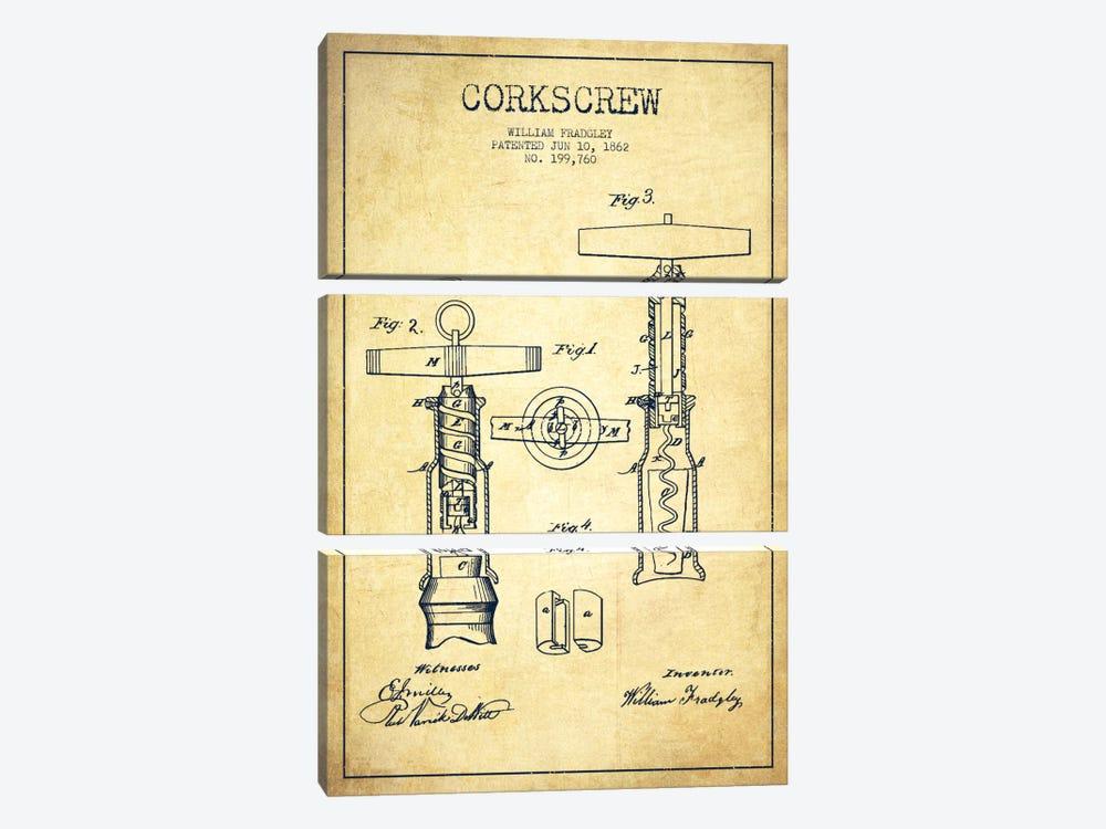 Corkscrew Vintage Patent Blueprint by Aged Pixel 3-piece Canvas Wall Art