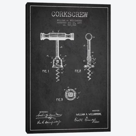Corkscrew Charcoal Patent Blueprint Canvas Print #ADP769} by Aged Pixel Canvas Wall Art