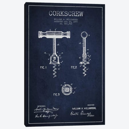 Corkscrew Navy Blue Patent Blueprint Canvas Print #ADP771} by Aged Pixel Canvas Art Print