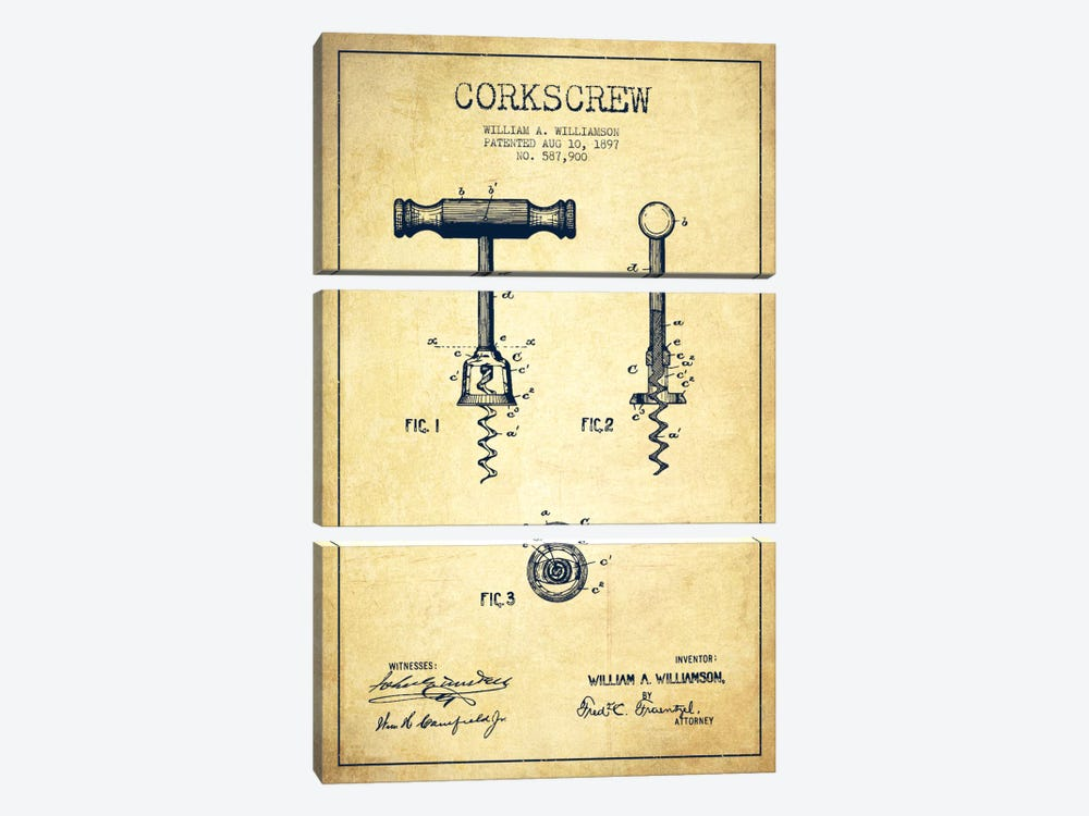 Corkscrew Vintage Patent Blueprint 3-piece Canvas Print