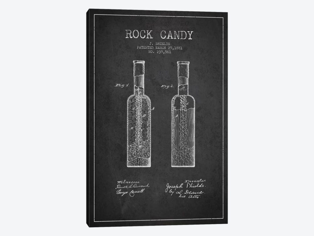 Rock Candy Charcoal Patent Blueprint by Aged Pixel 1-piece Canvas Print